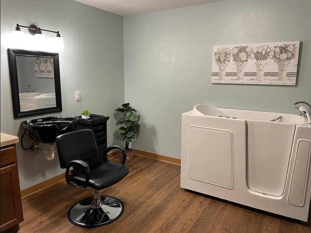 white spa tub with salon chair